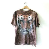Vintage Tiger T Shirt. Grunge Oversized Animal Shirt. Slouchy Coyote Tee Shirt.