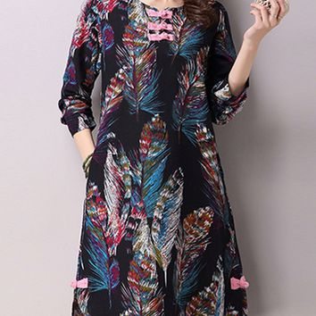 Streetstyle  Casual Round Neck Slit Pocket Colorful Feather Printed Shift Dress