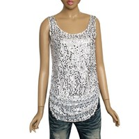 Allegra K Lady Silver Tone Sequin Decor Scoop Neck Arc Hem Tank Top White XS