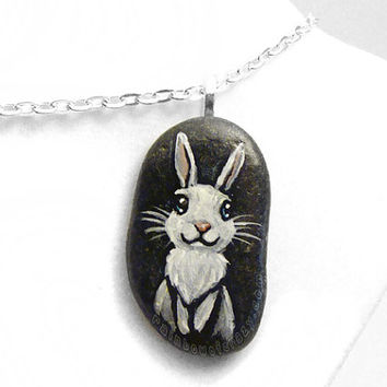 White Rabbit Necklace, Pet Portrait, Beach Rock Jewelry, Animal Painting, Cute Bunny Art, Pet Owner Gift, Memorial Stone, Blue Eyes