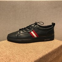 Bally Helvio Men's Leather Trainer In Black Sneakers Shoes - Best Online Sale