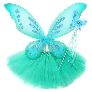 Girls 3 Piece Butterfly Costume Fairy Wing Set with Sparkle Wings Tutu and Wand