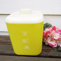 Vintage Plastic Canister, Tea Canister, Lustro Ware Container, Yellow White