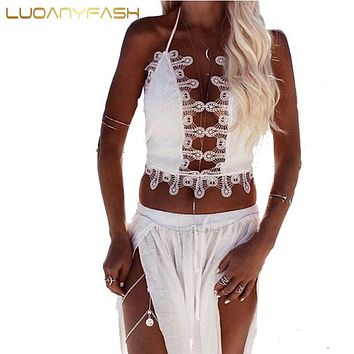 Luoanyfash Summer style sequin lace bustier crop top Backless sexy women tank top fitness cami Girls beach short halter tops