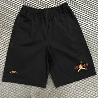 Nike & Jordan new fashion letter embroidery couple shorts Black