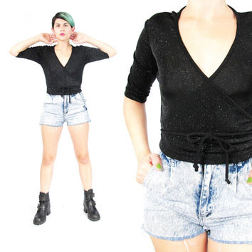 1990s Black Spandex Wrap Top Wrap Front Shirt Sparkly Glitter Top Clubwear Club Kid Top Ballet Wrap Top 90s Grunge Stretchy Crop Top (S)