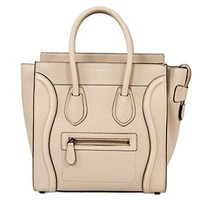 Celine Women's Luggage Leather Bag, Beige, Micro