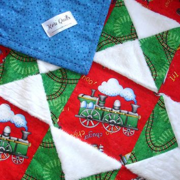 Baby Boy Quilt Throw Blanket -Red, Green, Blue Cotton and White Minky - Trains