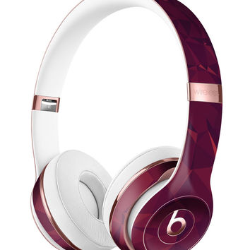 Red and Burgandy Geometric Shapes Full-Body Skin Kit for the Beats by Dre Solo 3 Wireless Headphones