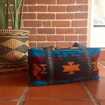 Southwestern duffel, market bag // collapsible tote // weekender bag // 9x9x18