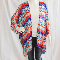 Chevron Kimono Cardigan/ Modern Kimono Jacket/ Colorful Lightweight Wrap/ Boho Clothing/ Layering Cardigan/ Bright Cover up