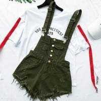 One-nice™ Fashion women suspenders overalls denim jean shorts romper