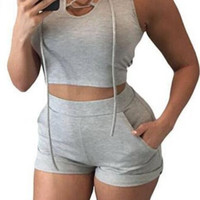 Grey Sleeveless Lace Up Hooded Crop Top with Short