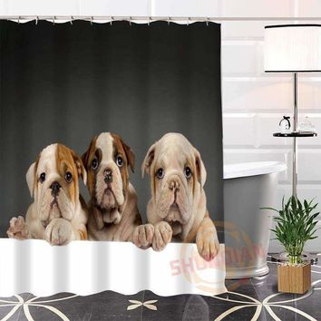 Custom Popular funny dog Fabric Shower Curtain 100% Polyester bathroom Waterproof Curtains New arrival