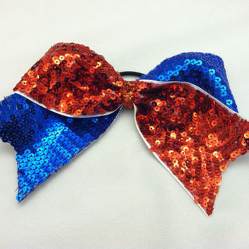 "3"", 3 inch cheer cheerleader bow 1/2 red sequin and 1/2 royal blue sequin"