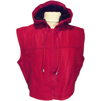 Mens Leather Jacket Red Sleeveless Hooded Hoodie Zip up Ring Jacket Wrestling - Boxing Custom Made