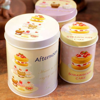 3 Pcs Retro Vintage Afternoon Tea Time Cake Cupcake Kitchen Coffee Tea Sugar Candy Biscuit Container Jar Tin Metal Zakka