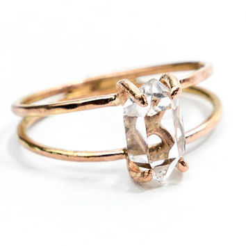 Solid Gold Double Band Herkimer Diamond Quartz Crystal Ring - Rough Crystal Engagement Ring - Raw Stone Ring - Hammered Gold Ring