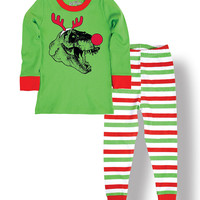 Green & Red Red-Nosed T-Rex Pajama Set - Infant, Toddler & Kids | zulily