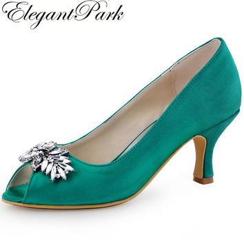Teal Woman Mid Heels Evening Party Pumps Peep Toe Rhinestones Satin Lady Bride Bridesmaid Bridal Wedding Shoes HP1540 Green Pink