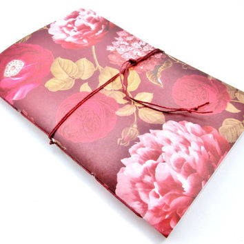 School Planner | Pretty Agenda | Weekly Planner | Undated Calendar | College Planner | Cute Date Book | Floral Cover | Dark Red