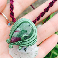 SOLAR QUARTZ Chalcedony Slice RUBY in Zoisite Necklace by Nymph-ish deva nature faery faeries fae druid Elvena