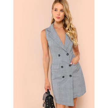 Notch Collar Double Breasted Surplice Wrap Dress