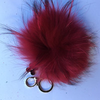 Raccoon Fur Pom Pom luxury bag pendant + flower keychain ring chain bag charm in red with natural black markings