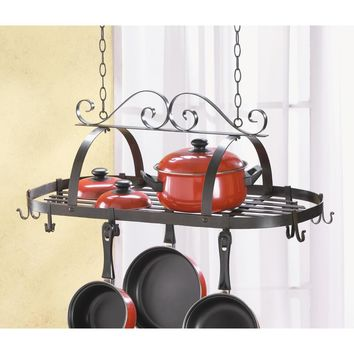 Pot Rack- Hanging Black Wrought Iron