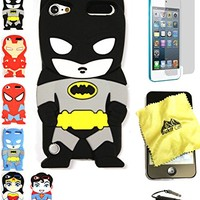 Bukit Cell 3D Superhero Bundle: Batman Black Cute Justice League Cartoon Soft Silicone Case for Ipod Touch 6 6th Generation / 5 5th Generation + Cleaning Cloth + Screen Protector + Stylus Pen