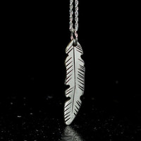 Feather necklace in sterling silver cut freehand and hand engraved