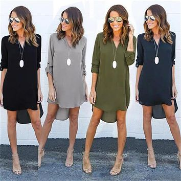 STAINLAZARD Short Summer Dress Cute Fashion Boho Beach Dresses Sexy Solid Color Long Sleeve Women Casual Dress LLD602