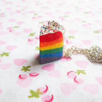 Rainbow Cake Necklace, Rainbow Cake, Cake Necklace, Food Necklace, Dessert, Sweet Lolita, Polymer Clay, Pendant, Charm Necklace, Kawaii