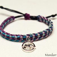 Swim Charm Hemp Bracelet, Purple Haze and Pastel Multicolor Macrame Jewelry, Eco Friendly Gift for Swimmers
