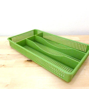 Vintage Silverware Holder / Flatware Tray / Avocado Green Tray / Drawer Organizer / Utensil Holder / Retro Kitchen / Collectible Kitchen