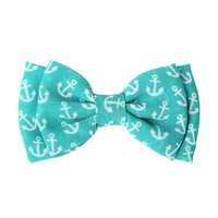 Teal White Anchor Chiffon Hair Bow