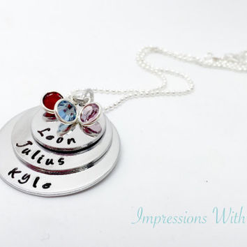 mothers necklace - hand stamped pendant - personalised necklace - gifts for mum / mom -mothers day - gift ideas for her /women -stacked disc