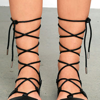 Madden Girl Lotussss Black Flat Lace-Up Sandals