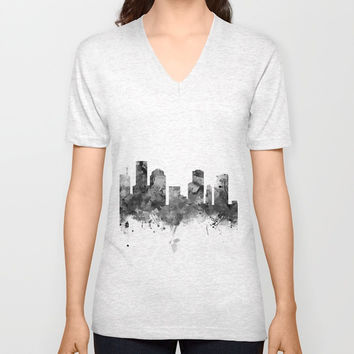 Houston Skyline Black and White Unisex V-Neck by monnprint