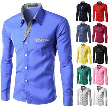 Long Sleeve Cotton Slim Fit French Cuff Casual Male Social Dress Shirts