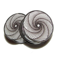 "Bullet-hole Spiral Plugs - 1 Pair - Sizes 2g, 0g, 00g, 7/16"", 1/2"", 9/16"", 5/8"", 3/4"", 7/8"" & 1"""