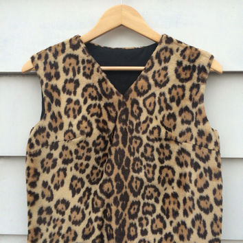 Unique vintage 60's leopard fake fur Top Leopard Print MOD top shirt jumper ethnic Faux fur tribal wild animal jungle 60s wild print