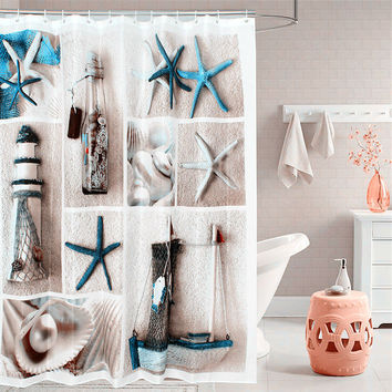 Fabric polyester blue sea life shower curtain thicken 180 cm * 180 cm