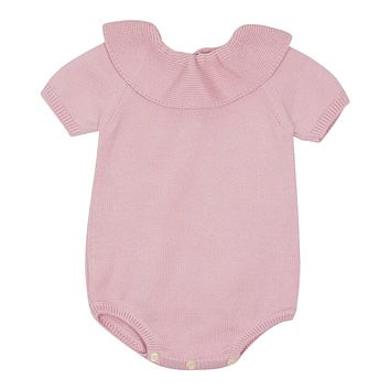 Carmina Baby Girls' Antique Pink Collared Knit Romper