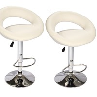 Modern Adjustable Synthetic Leather Swivel Bar Stools Chairs B02-Sets of 2 White