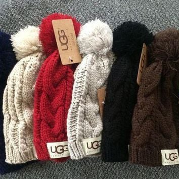 UGG Solid Color Winter Warm knitted Wool Beanies Hat Cap