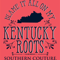 Southern Couture Blame it on my Kentucky Roots State Pattern Girlie Bright T Shirt