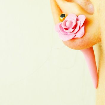 Fake gauge pink rose, Fake floral piercing, expander for her, fake plug flower, fake tunnels, polymer clay