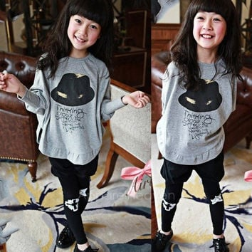 Baby Kid Long Sleeve Cat Shirt Tops Clothes Girls Batwing Sleeved Blouse T-Shirt AP
