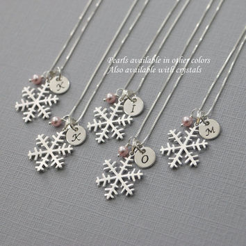 Personalized Sterling Silver Snowflake Necklace, Winter Wedding Necklace, Winter Necklace, Sterling Silver Necklace, Bridesmaid Necklace